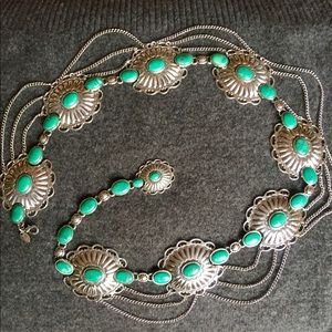 Silver Concho Belt, green turquoise stones
